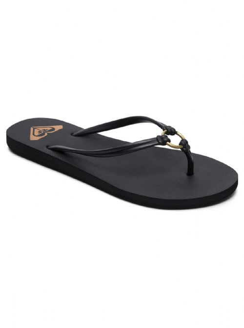 ROXY WOMENS FLIP FLOPS.NEW SOLIS STRAPPY FAUX LEATHER BLACK THONGS SANDALS 9S 4B